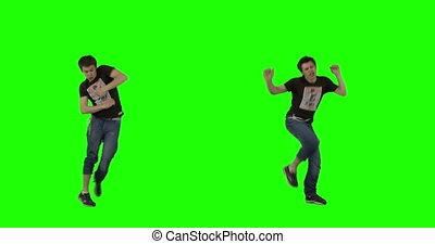 dans, gek, groene, scherm