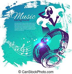 dans, illustratie, hand, gespetter, muziek, kwak,...