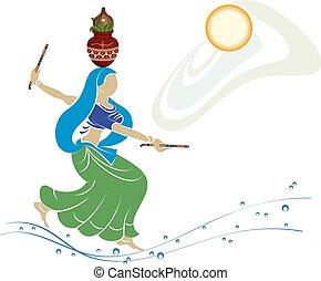 dans, indisk, garba