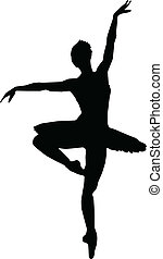 dans, meisje, ballet, silhouettes, -, vector
