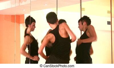 dans, meisje, spiegels