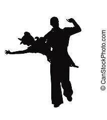 dans, paar, schommel