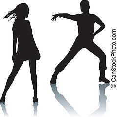 dans, paar, silhouette