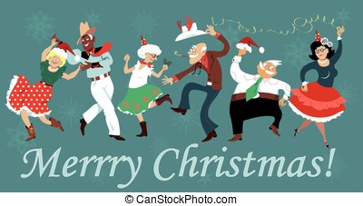 dans, plein, kerstmis