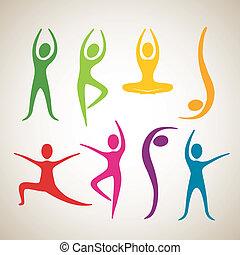 dans, positioner, yoga