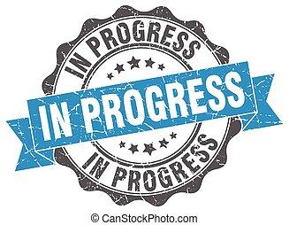 dans, progrès, stamp., signe., cachet