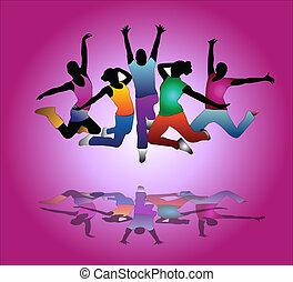 dans, sätta, grupp, flygare, folks