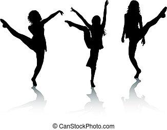 dans, silhouette, meiden