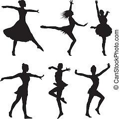 dans, silhouette, vrouw, -