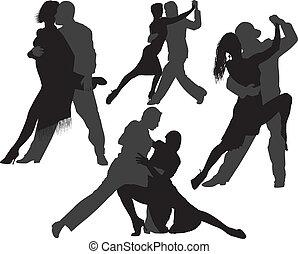 dans, silhouettes, vector, tango