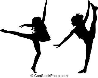 dans, sport, silhuett