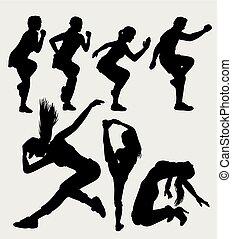 dans, sportende, silhouette