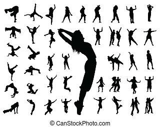 dans, springt, silhouette, mensen