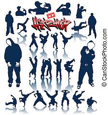 dans, vector, breakdance, personen