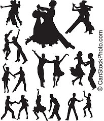 dans, vector, silhouette, mensen
