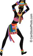 dans, vrouw, ethnische , afrikaan