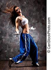 dans, vrouw, moderne, jonge