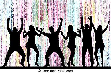 dansande, folk, silhouettes