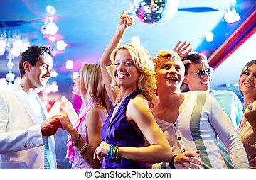 dansande, hos, parti