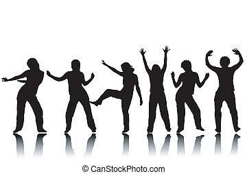 dansande, silhouettes