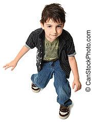 dansande, sju, gammalt år, pojke