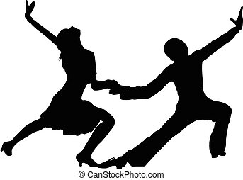 dansare, barn, två, tango