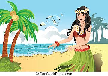 dansare, hula, hawaiian
