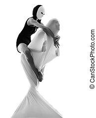 dansare, par, begrepp, kärlek, aktör