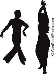 dansare, passion, tango, golv