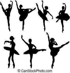 dansare, silhouettes, balett