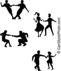 dansare, tänka, gunga