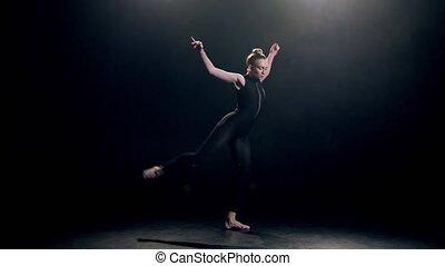 danse, élégant, danseur, exécuter, moderne, noir