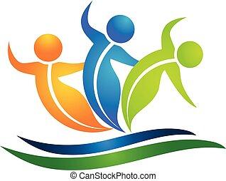 danse, équipe, de, swooshes, pousse feuilles, figures, vecteur, logo