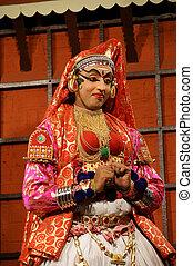 danse, actor., inde, (cochin), kochi, kathakali, tradional