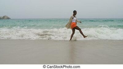 danse, américain africain, plage, femme, jeune, 4k