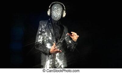 danse, argent, disco, m., balle, veste, porter
