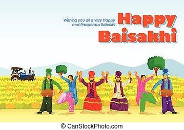 danse, baisakh, bhangra, inde, pendjab, sikh, folklorique, heureux