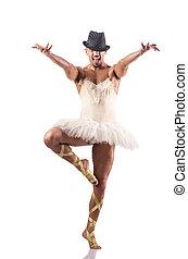 danse, ballet, exécuter, tutu, homme