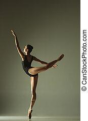 danse ballet, lumière, jeune, danseur, femme, mélangé, gracieux
