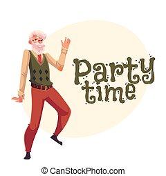 danse, bannière, affiche, salutation, invitation, conception, vieux, dessin animé, carte, homme