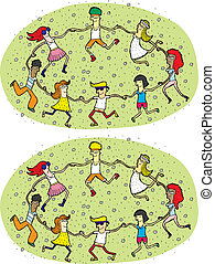 danse, cercle, différences, visuel, jeu