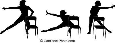 danse, chaise, femme, silhouette, vecteur