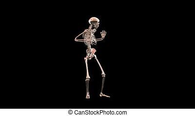 danse, chrome, squelette, disco, rouges