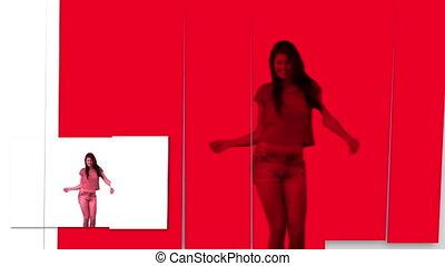 danse, coloré, femmes, dos, contre