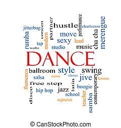 danse, concept, mot, nuage