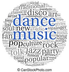 danse, concept, musique, mots