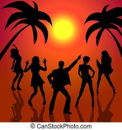danse, coucher soleil, gens