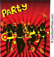 danse, couleur, différent, billet, fête