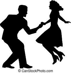 danse, couple, balançoire