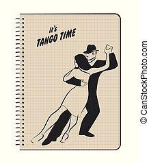 danse, couple, jeune, tango, vecteur, conception, notebook., posé couches